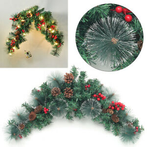 70cm Christmas Garland Fireplace Swag Berries & Pine Cone with Lights Wall Decor
