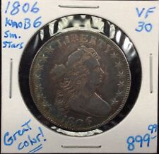 1806 Knobbed-Top 6 Small Stars Silver Half Dollar in VF+ Condition