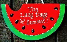 Watermelon Lazy Days Summer Sign Wall Art Hanger Deck Backyard Patio Door Plaque