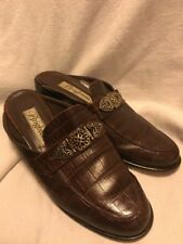 Brighton Croc  Leather Hearts Mules Clogs Slip On 8 M Italy