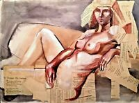 VINTAGE MIXED MEDIA RECLINING NUDE FIGURE MODERNIST ABSTRACT PAINTING COLLAGE
