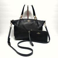 COACH Women's Medium Black Leather crossbody Handbag F36675 w/ Leather Wristlet