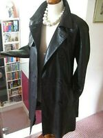 Ladies M&S long line real brown leather TRENCH COAT MAC UK 8 duster tie belt spy