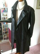 Ladies M&S long line real brown leather TRENCH COAT MAC UK 8 duster tie belt spy