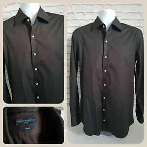 """Tommy Hilfiger Tailored Fitted Long Sleeve Shirt Men Size Medium 15.75"""" Cotton"""