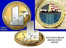 9/11 Gold Silver Stand Up 3D Coin I 2001 2021 II World Trade Centre War Terror