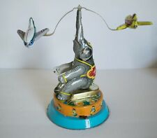 Vintage Wind-Up Toy Elephant w/ Flying Planes Chinese Mechanical Metal - Works