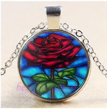 Beauty and the Beast  Rose Cabochon Glass Tibet Silver Pendant Necklace#A21