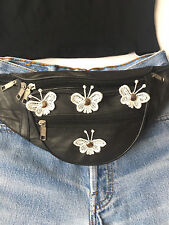 100% Genuine Black Leather Bum Bag Butterflies & Studs, Daisy. Festival, Travel