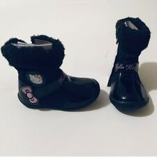 Baby Girls Black Boots Hello Kitty Shoes Size 4 Fluffy Winter New With Tags