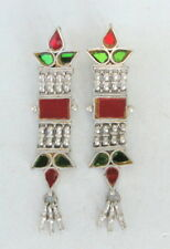 Ethnic Tribal Old Silver Earring Pair Belly Dance India