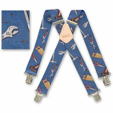 "Brimarc Mens Heavy Duty Suspender 2"" 50mm Wide Blue Hand Tool Braces"