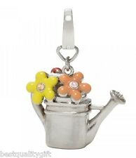 NEW FOSSIL SILVER TONE WATERING CAN,POT+FLOWERS+CRYSTAL CHARM PENDANT-JF00357040
