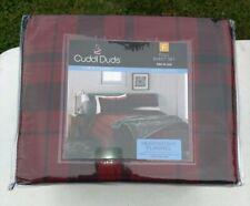 Cuddl Duds Full Sheet Set Heavyweight Flannel Red Plaid 100% Cotton NEW JN19