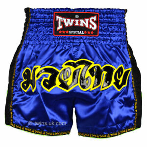 Twins Muay Thai Shorts TWS-910 Blue Retro shorts Kickboxing Striking
