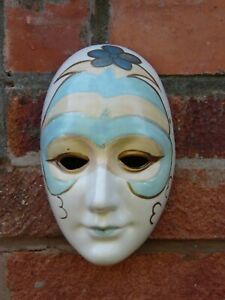 Vintage Original Decorative Masquerade Wall Face Mask Hand Painted Ceramic