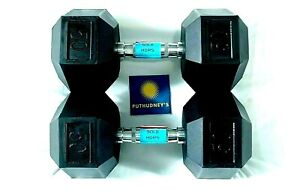 50 LB Dumbbell Pair Rubber Coated Hex Dumbbells Apollo Weights Set of 2 - New