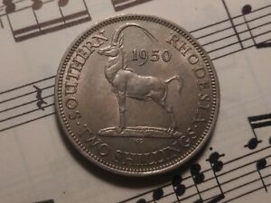SOUTHERN RHODESIA 2 shillings 1950 KM23 Cu-Ni Better date RARE in HIGH GRADE !