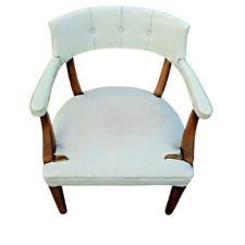 Vintage Wood Office Side Lounge Arm Chair Armchair White Vinyl Tufted See Photos