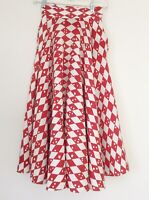 1950s Orig. Swing Skirt Full Circle Cotton Red/white Great Print Pinup S/M
