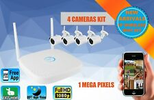 Wireless Wifi Outdoor Security Kit NVR CCTV Bullet IP Camera 4CH Full HD 1080P