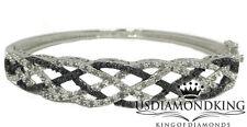 "Women's New 1.00 Ctw Genuine Real Black & White Diamond Cuff Bangle Bracelet 7"""