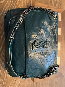 Authentic saint laurent Green Leather shoulder bag, Perfect Condition, Small Sz