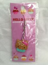 Hello Kitty Cupcake Cellphone Charm Bag Charm Rare Kawaii Sanrio Trinkets Tan
