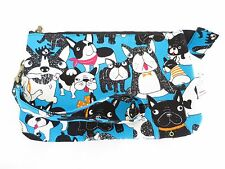 DOG blue black red wristlet double zip/clutch/wallet/purse/makeup/pencil case