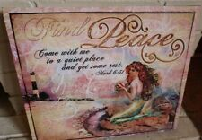 Mermaid Lighthouse Beach Decor Sign Pink Nautical Coastal Inspirational PEACE