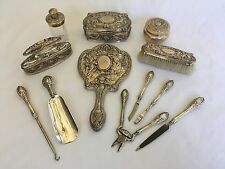 Gorham Sterling Silver Vanity Dresser Grooming Set Antique Victorian Cherubs