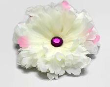 "Winter White Peony 5"" Hair Clip Silk Flower Purple Crystal Handmade Prom Wedding"