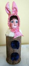 Rare antique Rabbit /bunny candy container/doll head -marked -Germany