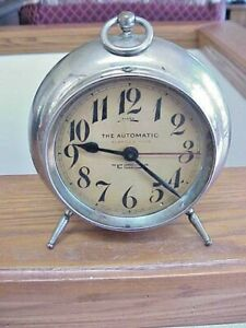 """Antique New Haven 8 Day Alarm Clock """"The Automatic"""" For Parts/Repair"""