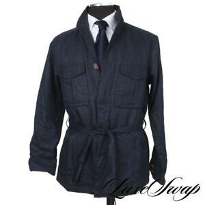 #1 MENSWEAR LNWT 18 East Mfg. Navy Blue Dobby Self Belted Field Jacket Coat M NR