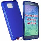 Cover Custodia Per Galaxy Alpha G850 G850F BLU Silicone Gel TPU + Pellicola