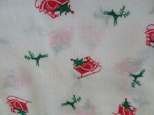 1 yd lightweight cotton Santa in sleigh on white background