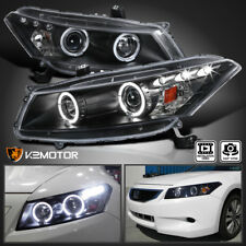 For 2008-2012 Honda Accord 2Dr Coupe  Halo Projector Headlights Black