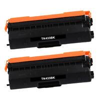 2 Pack Black TN433 Toner High Yield TN431 TN433BK for Brother MFC-L8610CDW 8260