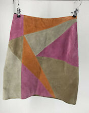 Leather Skirts Size 12  Bagatelle Multi-Color Block Patchwork Lined Skirt