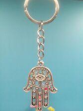 Schlüsselanhänger mit Hamsa, Fatima Hand. Tibet Silber