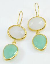 OttomanGems semi precious gemstone earrings 21ct gold plated Chaledony handmade