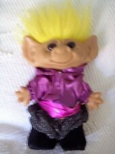 "TROLL DOLL by UNEEDA HE`S 7 1/2 "" TALL NOT COUNTING HIS HAIR DOUBLE HORSESHOE"