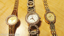 LOT OF 3 LADIES WRISTWATCHES FOSSIL, PULSAR, & ELGIN GREAT BLING WOMEN'S WATCHES