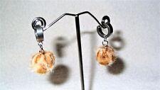 Fuzzy Leopard Print Dangle Ball Pair of Earrings Jewelry Piercing Handmade Hoops