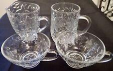 4 Vintage Pressed Glass Dishes with Raised Leaf Design Creamer Mug Cups LMPG34