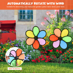 2pcs Colorful Rainbow Wind Spinner Windmill Toys Outdoor Yard Garden Lawn Decor