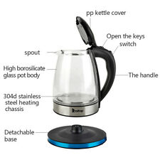 1.8L LED Fast Boiling Electric Kettle Glass Coffee Hot Water Boiler Tea Pot