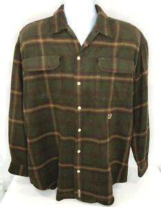 Tommy Hilfiger Vintage Men's Plaid Wool/Poly Crest Logo Button Front Shirt Sz L