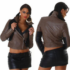 NEW SEXY COAT JACKET FAUX LEATHER ❤ BLACK + BROWN SIZE 8 ❤ GLOSSI AUSTRALIA